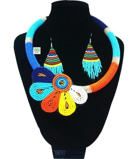 Collier en perle avec nœud et boucle d'oreille